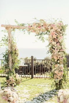 Ethereal Wedding Ceremony Arch Idea Greenery Arch With Blush