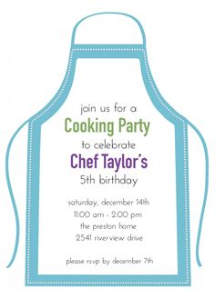 Young chef's birthday party - a cooking party. Such a fun idea!