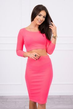 Set de dama fusta si bluza roz neon Blouse And Skirt, Sport Casual, High Waisted Skirt, Crop Tops, Spandex, Skirts, Sleeves, Pink, Outfit