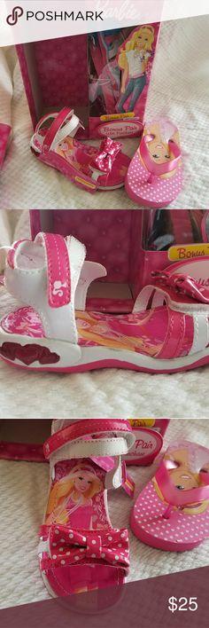 Toddler shoe size 8 Barbie sandals +flip flops Toddler shoe size 8 Barbie sandals with Bonus pair flip flops  Brand new  #BARBIE #SANDALS #FLIPFLOP #TODDLERGIRLS #BEACH #FASHION #FASTSHIPPING #INSTABEAUTY #SHOES #INSTASHOES Barbie Shoes Sandals & Flip Flops