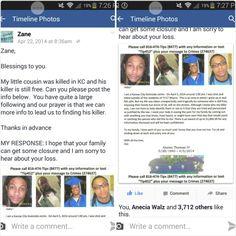 When #MommaOnaMission started seeking help with getting information about #AlonzoThomasIV  #unsolvedhomicide #Zane  posted #AlonzoThomasIV #Reward flyer on #Facebook. #KCMO