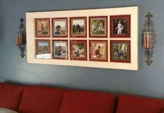 Take an old multi window pane glass door and turn it into a photo frame
