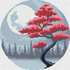 Modern Cross Stitch Patterns, Cross Stitch Designs, Stitching Patterns, Embroidery Art, Cross Stitch Embroidery, Cross Stitch Tree, Dragon Cross Stitch, Cross Stitch Flowers, Pixel Art Grid