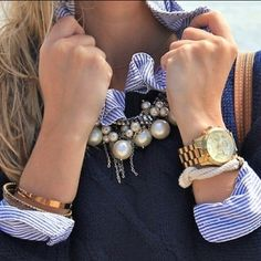 navy, stripes and pearls, perfect combination