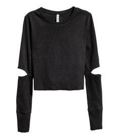 Short Jersey Top | Black | Ladies | H&M US