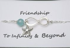Friendship Card,Best friends gift,Infinity Bracelet,Starfish bracelet,Bridesmaid Gifts,Friendship,Beach wedding, Graduation. $40.50, via Etsy.