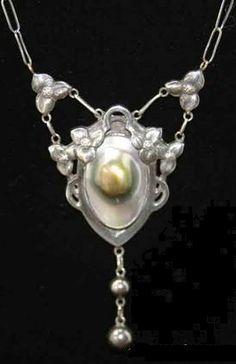 An Art Nouveau blister pearl pendant necklace, by Kalo Shop.