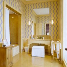 A BATHROOM can be vaporous or fun The same type of design as above but light-hearted A BA. Glamorous Bathroom, Powder Room Design, Kitchen And Bath, Vanity, Dressing Rooms, Bathrooms, Interior Design, Painted Walls, Interiors