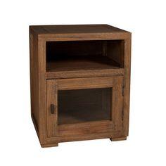 Chevet avec niche et porte vitrée en bois H50.5cm ELIA port offert