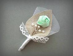 Mint and White Twigs Wedding Men Accessories, Groom's Lace Boutonniere Pin, Linen Groomsman, Mint Green Country Weddings, Burlap Shabby Chic $10.00