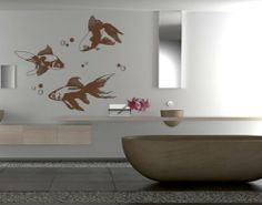 Best Quality Vinyl Wall Sticker Decals - Goldfishes ( Size: 59in x 13in - Color: white ) - No: 1983 by Wall Spirit. $57.95. Magical wall designs, wall decals, wall words, wall clocks and wall hangers from Wall Spirit. Service Hotline Mon-Fri from 9-5 PST 877 493-1690. Choose from over 750 exclusive designs in over 30 different colors from small to giant size wall decals. Fast delivery with FedEx and Free Shipping for orders of $65 and over. Application instructions...