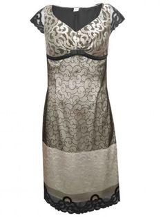 Официална дантелена рокля с къс ръкав