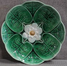 "Majolica Lily Pads & Flower dish George Jones English 9"" #GeorgeJones"