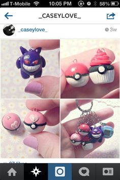 polymer clay Pokemon charms