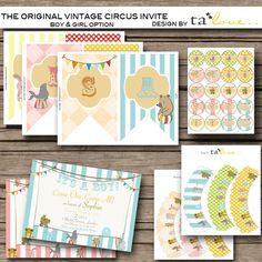 Vintage Circus invites.. modify from baby shower to 1st Birthday Invitation