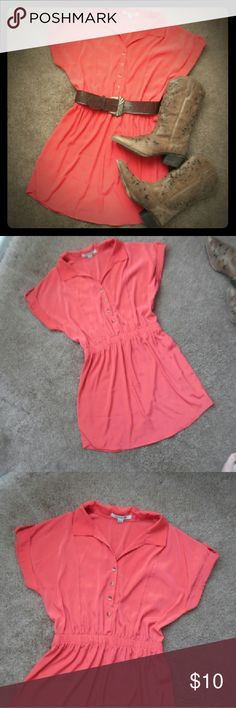 Short sleeve shirt dress Forever 21 coral/salmon short sleeve shirt dress sz large. Boots and belt are not included. Forever 21 Dresses
