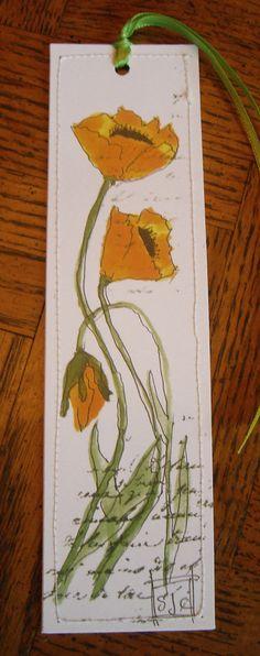Watercolor Bookmark Orange Poppies di Wildflowerhouse su Etsy