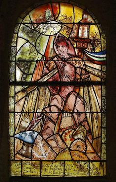 Stained glass windows of Luc Simon made with Simon-Marq (Reims) glass workshops, for the church Notre-Dame de Lucy (1999-2000)