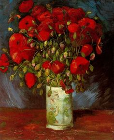 Vincent Van Gogh, Vase with Poppies, 1886. Oil on canvas.