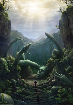 The path of cursed giants, RPG scenario, forest type, fantasy world by The Art Of Animation, Eric de Mander