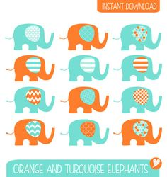 Items similar to Orange and Turquoise Elephant Clip Art / Commercial / Elephant Illustration / Nursery DIY Elephants on Etsy Blog Design, Web Design, Make Your Own Invitations, Elephant Illustration, Orange And Turquoise, Baby Shower Invitations, Wall Decals, Projects To Try, Commercial