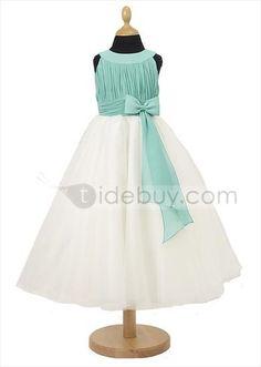 Glamorous A-Line Scoop Floor-length Bowknot Flower Girl Dress : Tidebuy.com