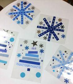 NOËL BLEU/BLANC/ARGENT ETOILES Christmas Post, Christmas Tree Cards, Xmas Cards, Kids Christmas, Christmas Crafts, Diy For Kids, Crafts For Kids, Christmas Window Decorations, Winter Art Projects