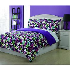 @Overstock.com - Painterly Peace 3-piece Comforter Set - The Painterly Peace Comforter Set includes a comforter and two pillow shams that are conveniently machine washable. The modern and fun dark set is covered in peace signs, hearts and flowers and makes a great addition to any teen girl's bedroom.  http://www.overstock.com/Bedding-Bath/Painterly-Peace-3-piece-Comforter-Set/8434154/product.html?CID=214117 $29.99