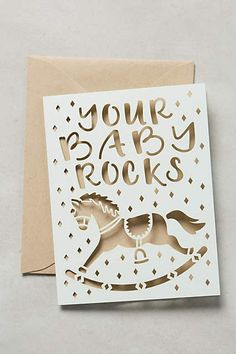 Alexis Mattox Design Your Baby Rocks Card Toddler Gifts, Baby Gifts, Anthropologie Gifts, Typography Love, Baby Shower Fall, Fall Baby, Kids Corner, Silhouette Projects, Paper Cards