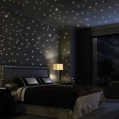Starlight bedroom. Fibre optic lights inset to the walls ceiling.