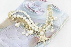 Gorgeous Sweet Style Star and Music Note Shape Multi-Layered Pearl Bracelet Pearl Bracelet, Bangle Bracelets, Pearl Necklace, Bangles, Fashion Bracelets, Fashion Jewelry, Five Pointed Star, Sammy Dress, Wholesale Fashion