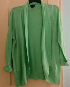 Mint Green Deb Open Front Cardigan Plus Size 2X Gently worn mint cardigan from debs  Size 2x fits true to size  Open front style  True mint green- color looks closest in 2nd picture  Has a few little pills as show in 4th pic under arm. Only worn 2-3 times. Could be easily removed with sweater stone etc Deb Sweaters Cardigans