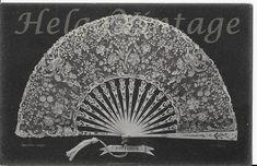 Antique, BW French photo-postcard, lace fan, diapered, folk art, lace, Point D'Alencon cca. 1910s' Photo Postcards, Vintage Postcards, Fan, Le Point, Postcard Size, French Vintage, Folk Art, Antiques, Vintage Fashion
