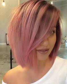 """She met Pink Bob today #pinkbob #lob #pinklob #danielmarrone #jonmichaesalon…"
