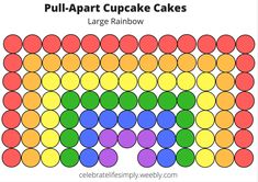 Rainbow (large) Pull-Apart Cupcake Cake Template
