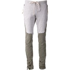 Greg Lauren 'Eli' trousers (1,947 CAD) found on Polyvore featuring pants, grey, skinny pants, skinny trousers, snap pants, cotton trousers and multi colored pants