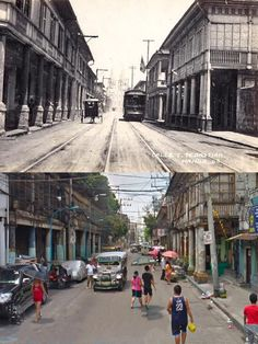 """Dito, Noon: Hidalgo Street, Manila, 1890s x 2010s. #kasaysayan --  Formerly known during the Spanish colonial times as Calle San Sebastian, it was renamed after the painter Félix Resurrección Hidalgo. It was once considered """"the most beautiful street in Manila."""" In the horizon, you could see the San Sebastian Church in both images. Baguio City, Cebu City, Philippines Culture, Manila Philippines, Beautiful Streets, Beautiful Places, Filipino Architecture, Then And Now Pictures, Philippine Holidays"""