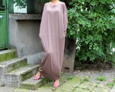 Mocha maxi dress Caftan Plus size dress by cherryblossomsdress Plus Size Maxi Dresses, Plus Size Outfits, Elegant Party Dresses, Maxi Robes, Oversized Dress, Lace Dress With Sleeves, Caftan Dress, Etsy, Trending Outfits