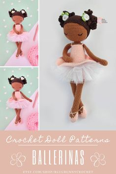 Crochet Doll Pattern, Amigurumi Ballerina Doll with Tutu and Flowers Pattern, Bailarna Patron, Black Crochet Doll Mirabelle from the series of Mini Ballerina Doll, Amigurumi Ballerina Doll Pattern. This is a DOWNLOADABLE TUTORIAL. Written in English, using Us terminology. Bunny Crochet, Crochet Doll Pattern, Cute Crochet, Crochet Hooks, Amigurumi Doll, Amigurumi Patterns, Doll Patterns, Ballerina Doll, Sport Weight Yarn