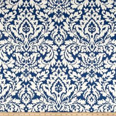 Waverly Dashing Damask BlueJay Duck from @fabricdotcom  Screen printed on cotton duck, this versatile medium-weight fabric is perfect for window treatments (draperies, valances, curtains, and swags), bed skirts, duvet covers, pillow shams, accent pillows, slipcovers, and upholstery. Colors include indigo and cream.