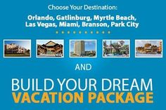 Enjoy big discounts on a dream vacation! Branson Orlando Arizona Myrtle beach Florida New York Las Vegas Utah South Carolina Vacation Deals, Vacation Resorts, Vacation Trips, Travel Deals, Orlando Florida, Orlando Resorts, City Resort, Lake Resort, Affordable Vacations