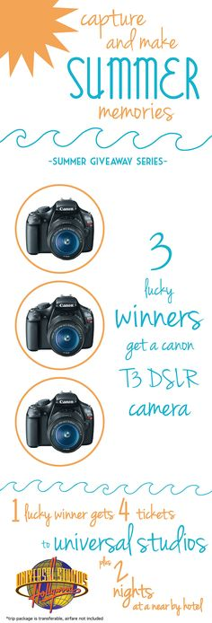 Summer Giveaway Series ~ 2 days, awesome prizes!! Cameras, Universal Studios trip, Ipads...