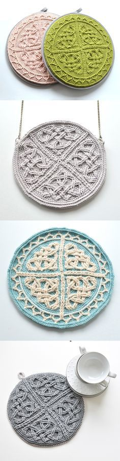 Celtic Cabled Mandala pattern can be used in many ways. To make a round purse, chair pad, wall hagning, table decoration or pillow throw.