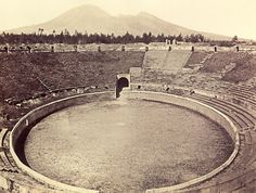Pompeii,Mount Vesuvius is in the background, half the size it was when it erupted and destroyed Pompeii