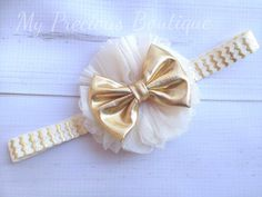 Cream and gold headband, ivory and gold headband, photography prop, newborn headband, baby girl head Toddler Bows, Toddler Headbands, Newborn Headbands, Baby Girl Headbands, Making Hair Bows, Diy Hair Bows, Diy Bow, First Baby Pictures, Handmade Hair Accessories