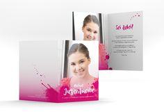 "Einladung Jugendweihe ""Graffiti"" A6 Klappkarte pink"