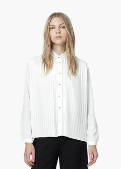 Bluse mit plissiertem einsatz | MANGO