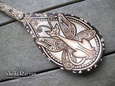 decorated with pyrography | Fairy Cat pyrography spoon home decor by MotherSpoon on Etsy, $200.00