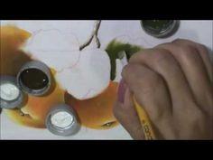 Laranjas, peras e folhas. Aula 8. Pintura em tecido.