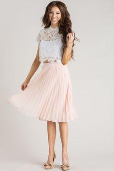Camille Pink Pleated Midi Skirt